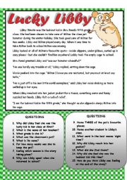 English Worksheets: Lucky Libby - Reading Comprehension ***EDITABLE***