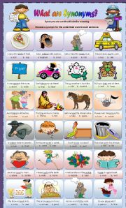 English Worksheet: Synonyms **** editable*****