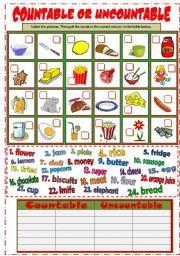 English Worksheet: Countable & Uncountable Nouns (B&W + KEY)
