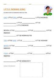 English Worksheet: Little Indians Song
