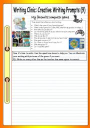English Worksheet: Writing Clinic - Creative Writing Prompts (10) - My favourite computer game