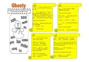 English Worksheets: Ghosty- reading comprehension