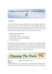 English Worksheets: Making Dictation Fun Part 1