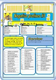 English Worksheet: Negative Prefixes # 5