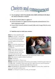 Printables Choices And Consequences Worksheet english worksheet choices and consequences