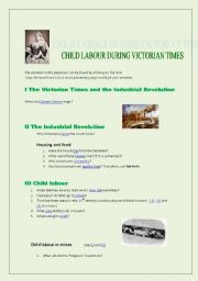 English Worksheet: Child Labour During Victorian Times