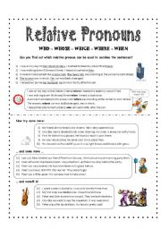 English Worksheets: RELATIVE CLAUSES using who, whose, which, where, when