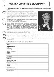 English Worksheet: agatha christie�s biography