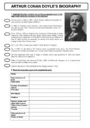English Worksheets: arthur conan doyle�s biography