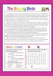 English Worksheets: Legend: The singing birds