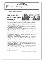 English Worksheet: TEST GRADE 9 - ADDICTIONS