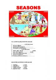 English Worksheet: days,months,seasons,weather conditions,clothes