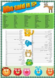 English Worksheet: Animals, animals� sounds, (warm up) + KEY