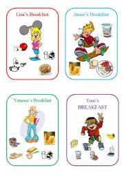 English Worksheet: breakfast cards