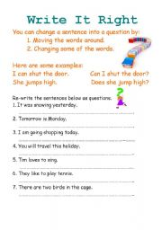 English Worksheets: Write it right