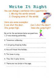 English worksheet: Write it right