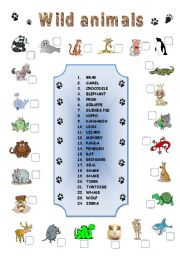 English Worksheets: WILD ANIMALS MATCHING