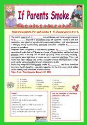English Worksheet: IF PARENTS SMOKE.