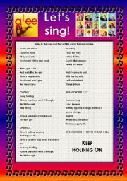 English Worksheet: GLEE SERIES � SONGS FOR CLASS! S01E07 � FOUR SONGS � FULLY EDITABLE WITH KEY!