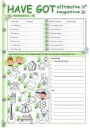 English Worksheet: Have got - affirmative & negative
