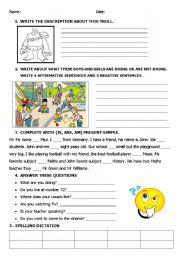 English Worksheet: exam 4th grade