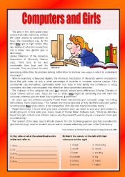 English Worksheet: Computers and Girls