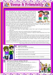 English Worksheet: Teens & Friendship – Reading comprehension + grammar (connectors) - [4 tasks] KEYS INCLUDED ((3 pages)) ***editable