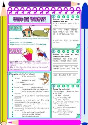 English Worksheet: Who or whose? � explanation, examples and exercises [4 tasks] KEYS INCLUDED ((2 pages)) ***editable