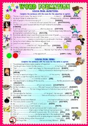 English Worksheet: WORD FORMATION: NOUNS FROM VERBS / NOUNS FROM ADJECTIVES