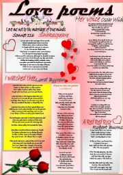 English Worksheet: THE BEST POEMS OF LOVE for VALENTINE´S DAY