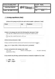 English Worksheet: Mid of Term Test N�2 first form  tunisian pupils