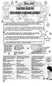 English Worksheet: PRACTICAL IDEAS FOR INTRODUCING CLASSROOM LANGUAGE