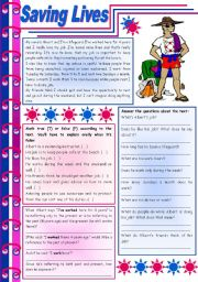 English Worksheets: Saving lives � reading comprehension + grammar (present perfect + for / since) [8 tasks] KEYS INCLUDED ((4 pages)) ***editable