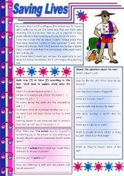 English Worksheet: Saving lives � reading comprehension + grammar (present perfect + for / since) [8 tasks] KEYS INCLUDED ((4 pages)) ***editable
