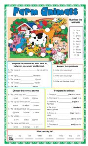 Farm Animals + 6 different exercises + present continuous, prepositions, colors, comparatives and superlatives, vocabulary and actions.
