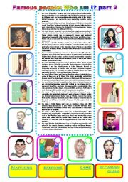 English Worksheet: Famous people: Who am I? part 2 (05.01.2011)