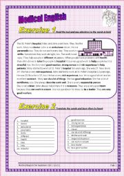 English Worksheets: 3 pages 5 exercises Medical English for beginners