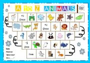 English Worksheets: A to Z animal board game