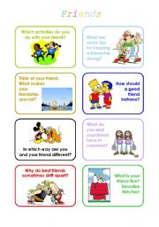 English Worksheets: discussion cards with topic friends and friendship