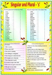 English Worksheet: SINGULAR AND PLURAL -