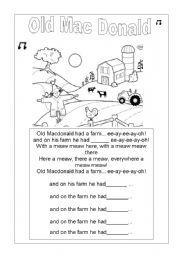 English worksheet: OLD MAC DONALD LYRICS