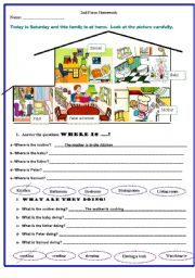 English Worksheet: Where are they?  What are they doing?