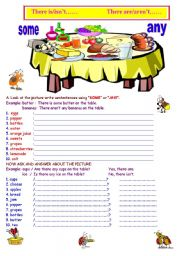 English Worksheet: There is/isn�t               There are/aren�t        SOME/ANY