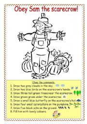 English worksheet: Obey Sam the scarecrow!