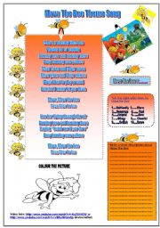 English Worksheet: Maya The Bee Theme Song and three activities.(Listening,writing,ticking and colouring)(B&W Version is included)