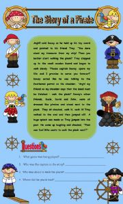 Comprehension - The Story of a Pirate (Includes a word search) 2 pages