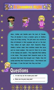 English Worksheets: Comprehension - A Sleepless Night (2 Pages)