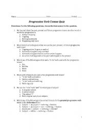 Worksheets Progressive Verb Tense Worksheets english worksheets progressive verb tenses quiz worksheet quiz