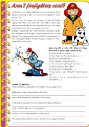 English Worksheet: Aren't firefighters cool? – reading comprehension + grammar (comparative of equality, past simple vs. past continuous) [6 tasks] KEYS INCLUDED ((3 pages)) ***editable