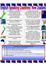 English Worksheet: English Speaking Countries (New Zealand)...Reading Comprehension Worksheet.
